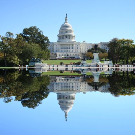 Capitol building reflected Washington DC USA Stock Photo