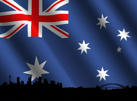 Sydney skyline with rippled Australian flag illustration illustration
