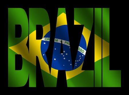 brazil symbol: overlapping Brazil text with rippled Brazilian flag Stock Photo