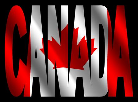 overlapping Canada text with rippled Canadian flag illustration illustration