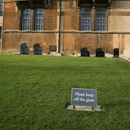 do not walk on grass sign Oxford university  photo