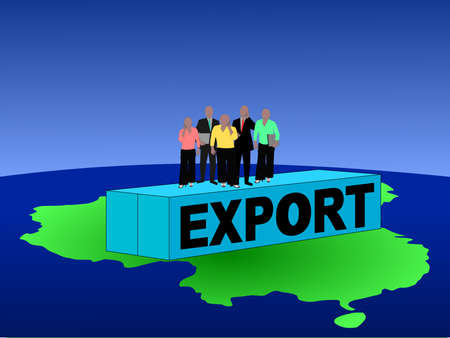 asian man laptop: Chinese business team on export container illustration