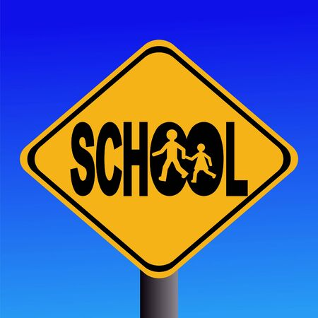 symbol vigilance: Warning school sign with children silhouettes illustration