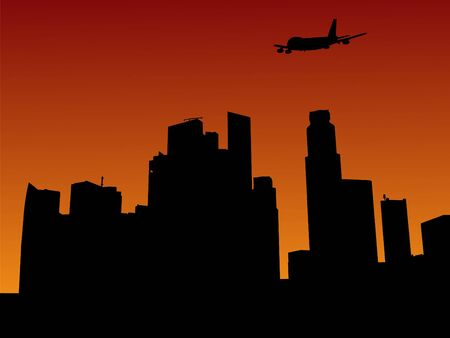 arriving: plane arriving in Singapore at sunset illustration Stock Photo