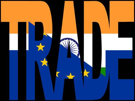 Trade text with EU and Indian flags illustration