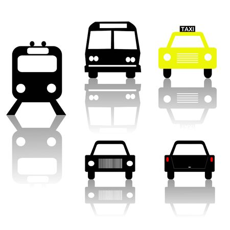 windscreen: train bus car and taxi silhouettes with shadow illustration Stock Photo