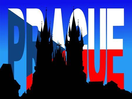 tyn: Tyn Church Prague with flag text illustration