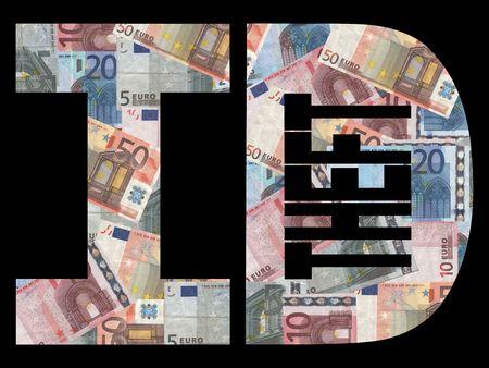 felony: Identity theft text with Euros background