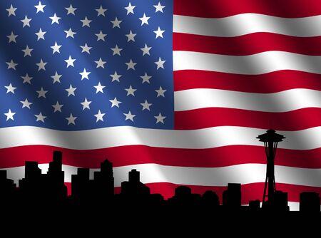 Seattle skyline with rippled American Flag illustration illustration