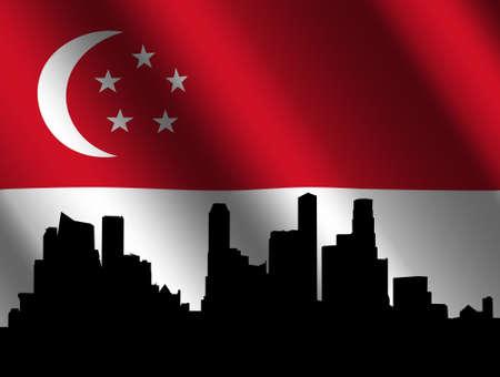 singaporean flag: Singapore skyline with their rippled flag illustration Editorial