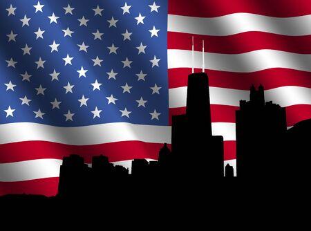 rippled: Chicago skyline with rippled American flag illustration Stock Photo