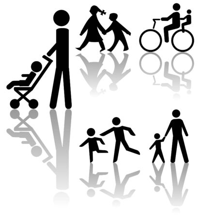 assorted  silhouettes including bicycle and stroller Stock Photo - 3408198
