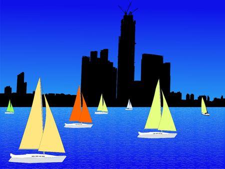 Kowloon skyline Hong Kong and yachts with colorful sails photo