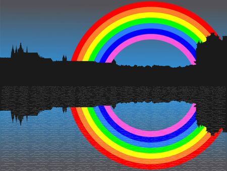 refracted: Prague skyline with colourful rainbow illustration Stock Photo