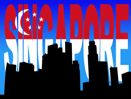 singaporean flag: Singapore Skyline with flag text illustration