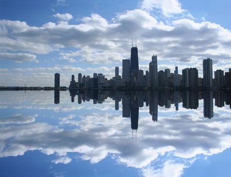 Chicago Skyline reflected in Lake Michigan Stock Photo - 3408202