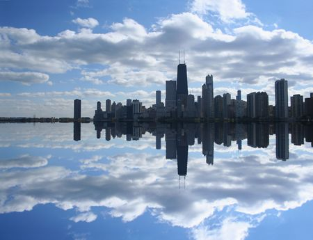 chicago skyline: Chicago Skyline reflected in Lake Michigan