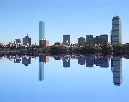 boston skyline: Boston Skyline reflected in Charles River