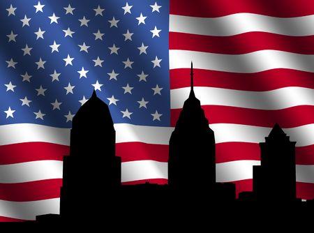 philadelphia: Philadelphia skyline with rippled American flag illustration