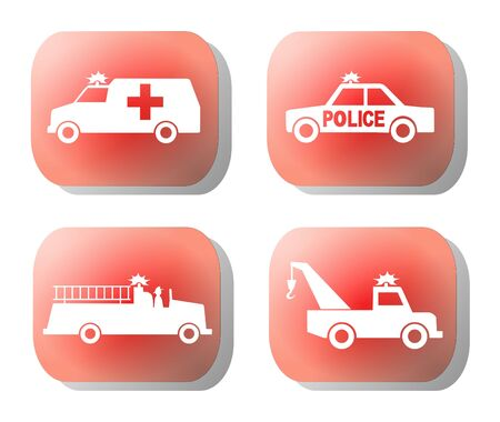 emergency silhouettes on red button illustration illustration
