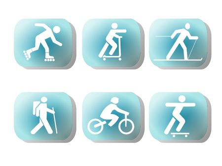 inline skating: exercising figure silhouettes on blue button illustration Stock Photo