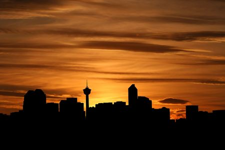 Calgary skyline at sunset with beautiful sky illustration