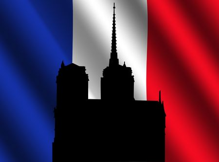 notre dame: Silhouette of Notre Dame Paris and rippled French flag