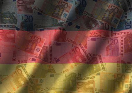 rippled Euros and German flag background illustration illustration