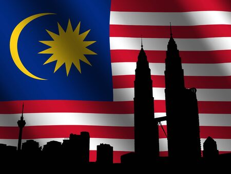 rippled: Twin Towers with rippled Malaysian flag illustration