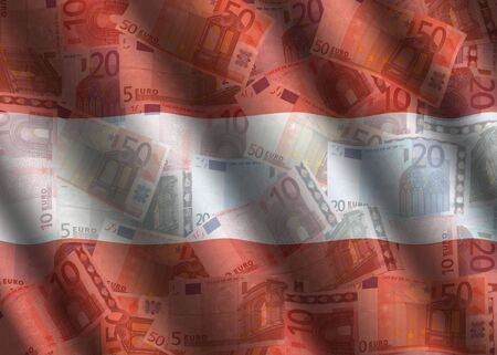 austrian: rippled Euros and Austrian flag background illustration