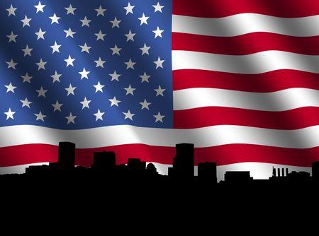 baltimore: Baltimore skyline with rippled American flag illustration