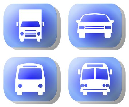 Blue transport buttons truck train car bus