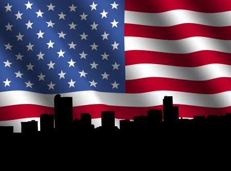 denver: Denver skyline with rippled American flag illustration