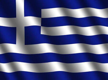 rippled: rippled Greek flag background illustration Stock Photo