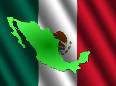 flutter: map of Mexico on rippled flag background illustration
