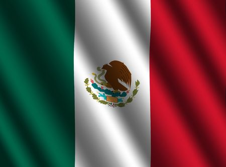 mexican flag: rippled Mexican flag background illustration
