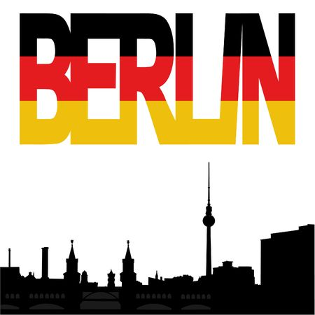Berlin skyline with Berlin flag text illustration illustration