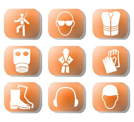 construction safety symbols on orange buttons illustration illustration