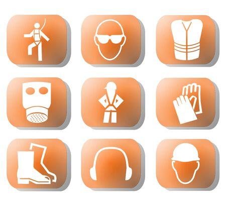 safety harness: construction safety symbols on orange buttons illustration