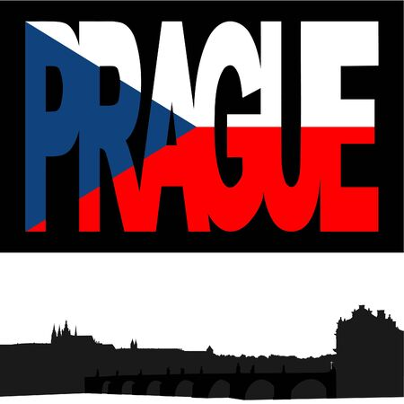 charles: Castle and Charles Bridge with Prague flag text illustration