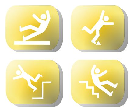 Caution falling hazards on yellow buttons illustration
