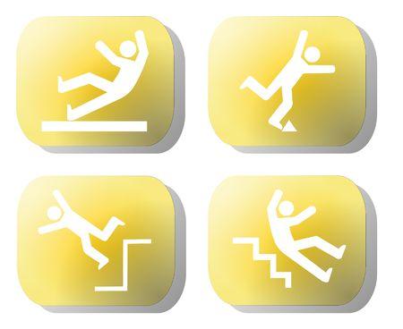 trip hazard sign: Caution falling hazards on yellow buttons illustration