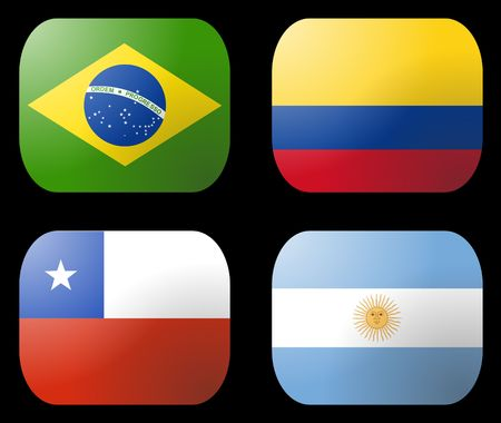 Brazil Argentina Chile Colombia Flag buttons photo