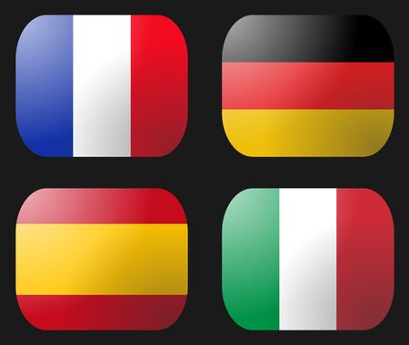 France Germany Italy and Spain Flag buttons illustration illustration