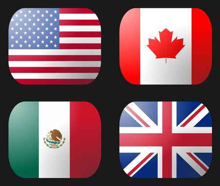 UK USA Mexico Canada Flag buttons illustration Stock Photo
