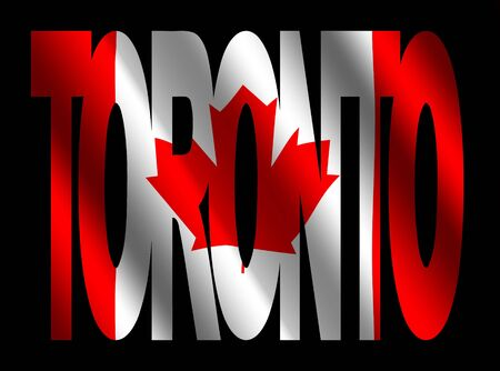 overlapping Toronto text with rippled Canadian flag illustration illustration