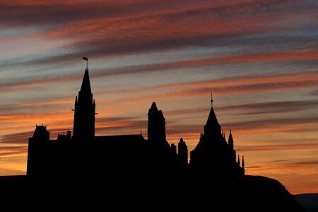 Canadian parliament Ottawa at sunset with beautiful sky illustration illustration