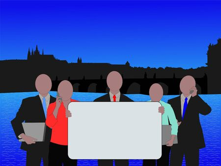 Business team with sign and Prague skyline illustration illustration
