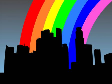 refracted: Singapore Skyline with colourful rainbow illustration