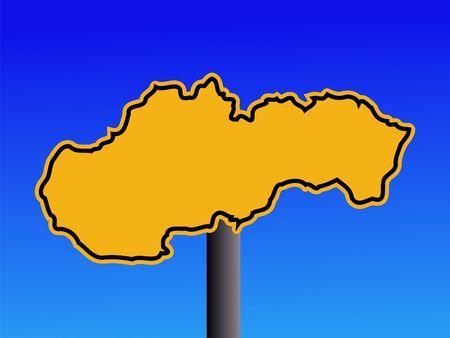 slovakian: yellow Slovakia map warning sign on blue illustration